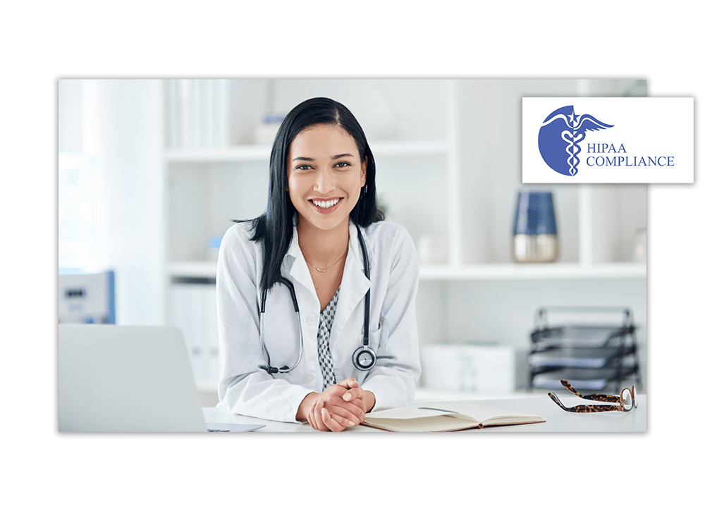 Woman doctor smiling | HIPAA Compliance