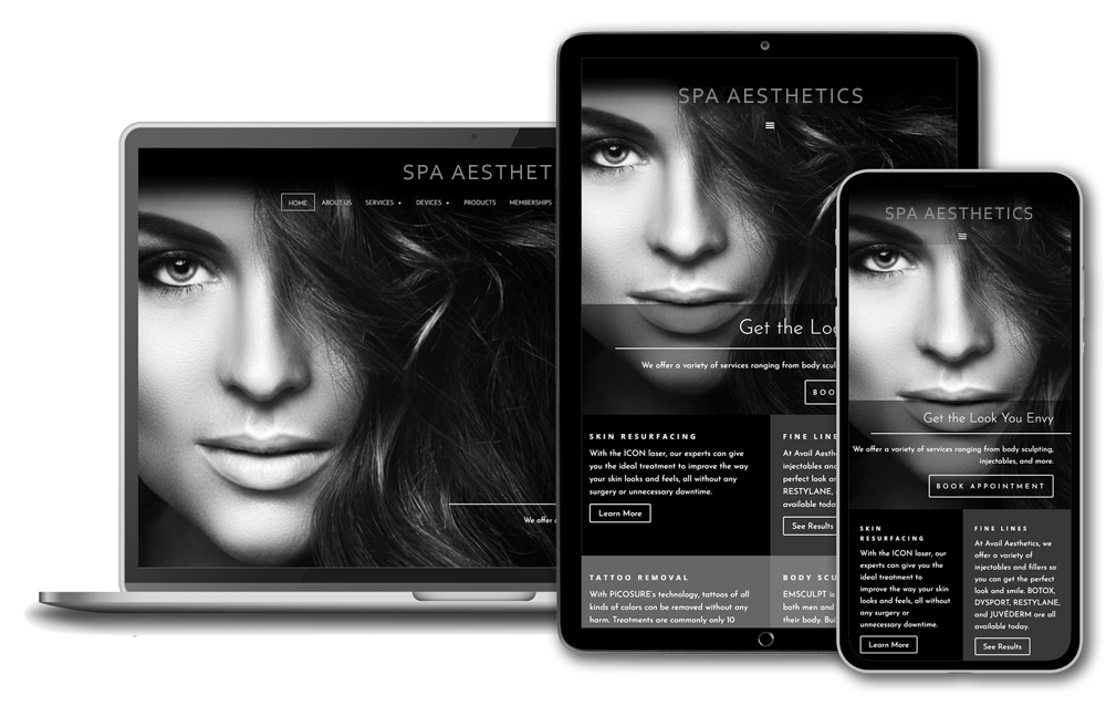 Responsive Design | Phone, tablet, and laptop display website in various sizes and scale