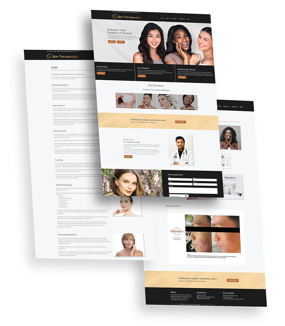 Skin Therapeutics Web Design