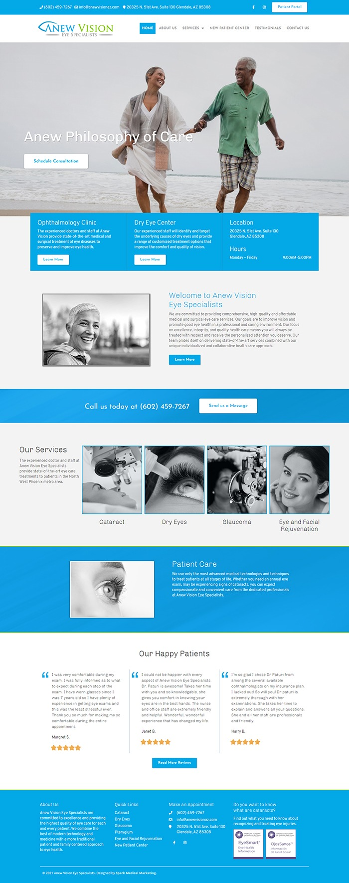Anew Vision Eye Specialists Homepage Screenshot